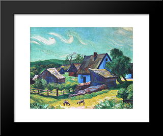 Farmhouses In The Morning: Modern Black Framed Art Print by Max Pechstein
