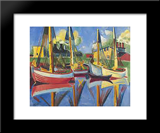 Fishing Boats In The Afternoon Sun (Fischkutter In Nachmittagssonne): Modern Black Framed Art Print by Max Pechstein