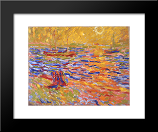 Flusslandschaft: Modern Black Framed Art Print by Max Pechstein