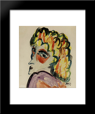 Fraukopf: Modern Black Framed Art Print by Max Pechstein