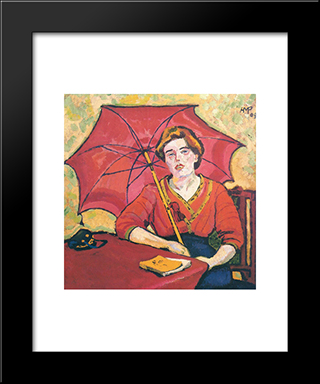 Girl In Red With A Parasol: Modern Black Framed Art Print by Max Pechstein