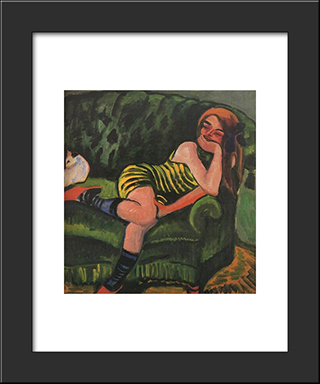 Girl On A Green Sofa With A Cat: Modern Black Framed Art Print by Max Pechstein