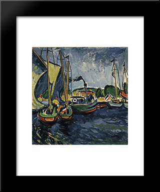 Hafen: Modern Black Framed Art Print by Max Pechstein