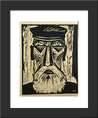 Head Of A Fisherman: Modern Black Framed Art Print by Max Pechstein