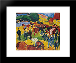 Horse Fair: Modern Black Framed Art Print by Max Pechstein