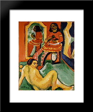 Indian And Woman: Modern Black Framed Art Print by Max Pechstein