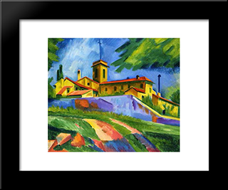 Italian Church - Convent Of San Gimignano: Modern Black Framed Art Print by Max Pechstein