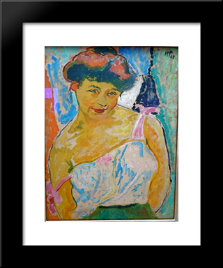Junges Madchen: Modern Black Framed Art Print by Max Pechstein