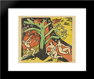 Killing Of The Banquet Roast: Modern Black Framed Art Print by Max Pechstein