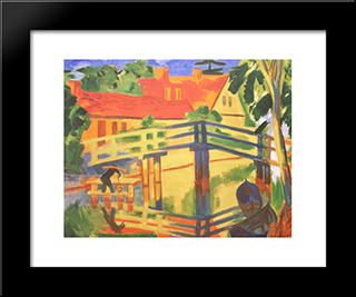 Leba: Modern Black Framed Art Print by Max Pechstein