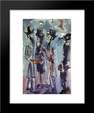 Adoration Of The Moon: Modern Black Framed Art Print by Max Weber