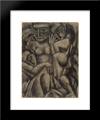 Composition With Four Figures: Modern Black Framed Art Print by Max Weber