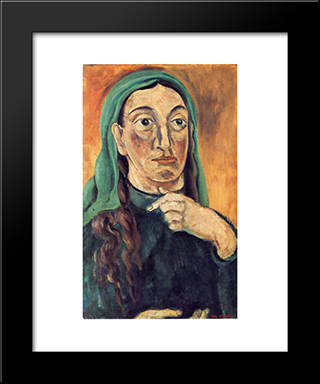 Draped Head: Modern Black Framed Art Print by Max Weber
