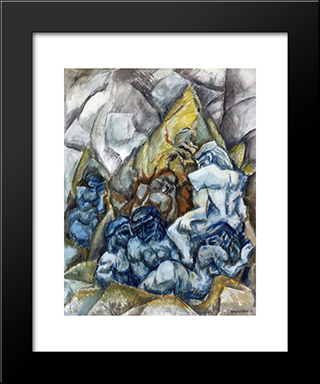 Figures In A Landscape: Modern Black Framed Art Print by Max Weber