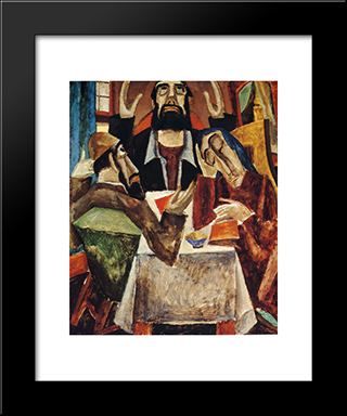 Invocation: Modern Black Framed Art Print by Max Weber