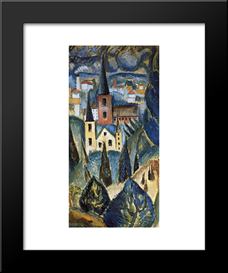 Landscape With Church Spires And Trees: Modern Black Framed Art Print by Max Weber