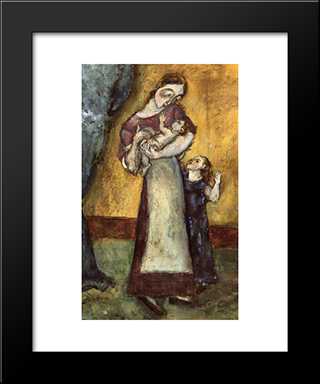 Mother And Children: Modern Black Framed Art Print by Max Weber