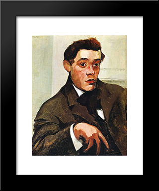 Portrait Of Abraham Walkowitz: Modern Black Framed Art Print by Max Weber