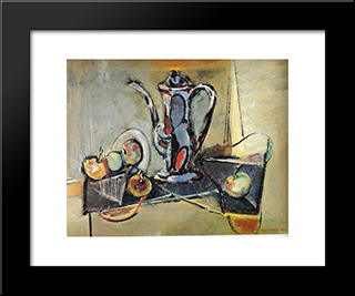 Still Life With Apples: Modern Black Framed Art Print by Max Weber