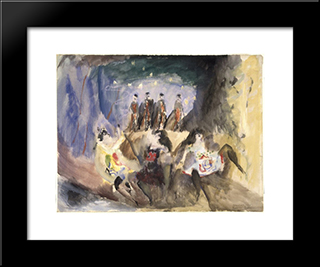 Study For Russian Ballet: Modern Black Framed Art Print by Max Weber