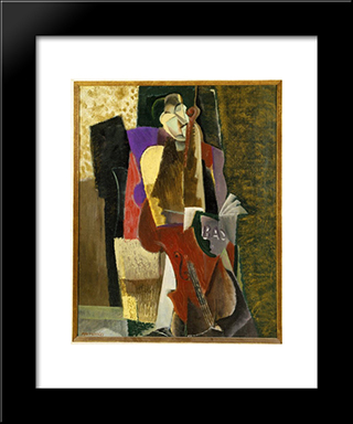 The Cellist: Modern Black Framed Art Print by Max Weber