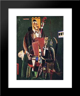 The Two Musicians: Modern Black Framed Art Print by Max Weber