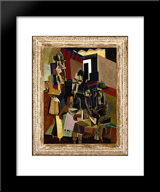 The Visit: Modern Black Framed Art Print by Max Weber