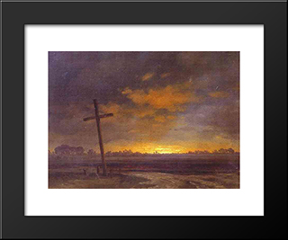 Landscape With A Cross. Lithuania: Modern Black Framed Art Print by Maxim Vorobiev