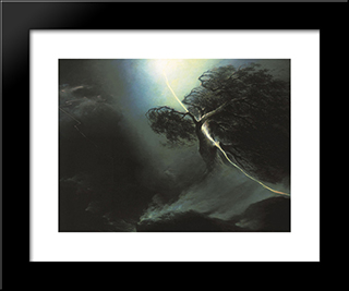 Oak Fractured By A Lightning. Allegory On The Artist'S Wife Death: Modern Black Framed Art Print by Maxim Vorobiev