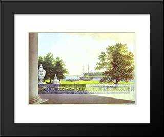 View From The Terrace Of The Elagin Palace: Modern Black Framed Art Print by Maxim Vorobiev