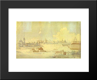 View From Yauza On Kremlin In Moscow: Modern Black Framed Art Print by Maxim Vorobiev