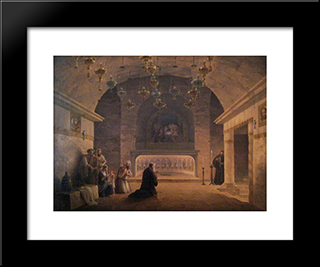 View Of Church Of The Nativity In 1833: Modern Black Framed Art Print by Maxim Vorobiev