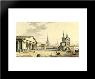 View Of Manege, Kutafya Tower And Churches Of St. Nicholas In The Sapozhki: Modern Black Framed Art Print by Maxim Vorobiev