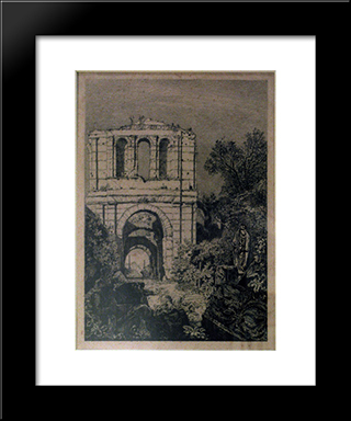 Ruins Of The Gallien Palace: Modern Black Framed Art Print by Maxime Lalanne