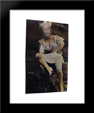 Ridiculous Portrait (Woman In A Bathing Costume): Modern Black Framed Art Print by May Wilson
