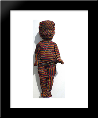 Wrapped Doll (Striped): Modern Black Framed Art Print by May Wilson