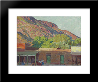 Adobe Town: Modern Black Framed Art Print by Maynard Dixon