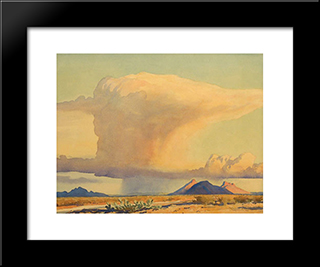 Drought And Downpour: Modern Black Framed Art Print by Maynard Dixon