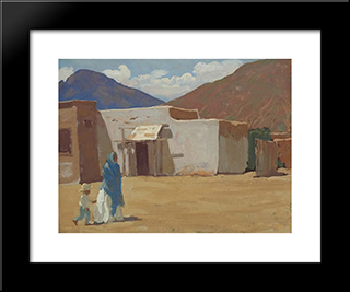 In Old Tucson: Modern Black Framed Art Print by Maynard Dixon
