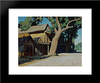 Old Chinatown, Carson City Nevada: Modern Black Framed Art Print by Maynard Dixon