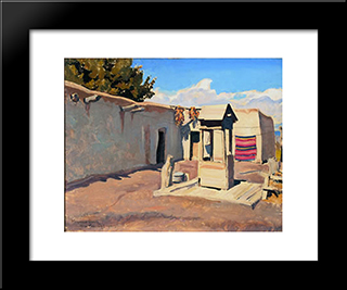 Old Patio: Modern Black Framed Art Print by Maynard Dixon