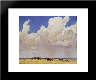 Prairie Shower: Modern Black Framed Art Print by Maynard Dixon