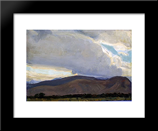 Storm From The Sierra: Modern Black Framed Art Print by Maynard Dixon