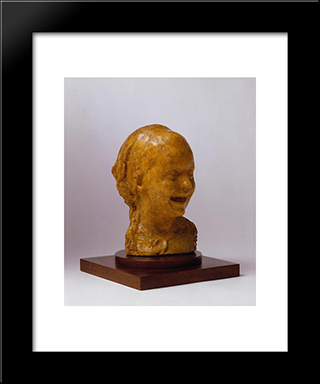 Bambina Che Ride: Modern Black Framed Art Print by Medardo Rosso
