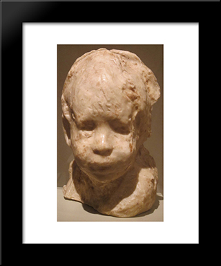 Jewish Boy: Modern Black Framed Art Print by Medardo Rosso