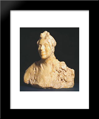 Laughing Woman (Large Version): Modern Black Framed Art Print by Medardo Rosso