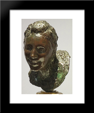 Little Laughing Woman: Modern Black Framed Art Print by Medardo Rosso