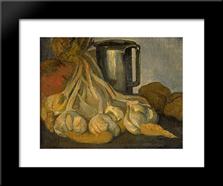 A Bunch Of Garlic And A Pewter Tankard: Modern Black Framed Art Print by Meijer de Haan