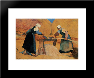 Breton Women Scutching Flax Labour: Modern Black Framed Art Print by Meijer de Haan