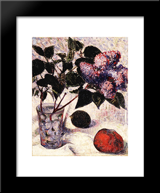Lilacs In A Glass, Apple And Lemon: Modern Black Framed Art Print by Meijer de Haan